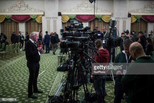 Journalists at work at the electoral headquarters of FiveStar Movement in Rome Sunday March 5 2018 The economy and immigration are key factors in the...