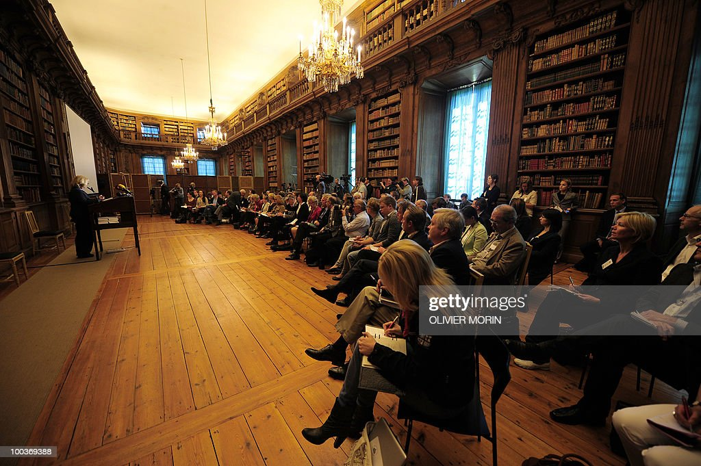 Journalists attend a briefing regarding the Royal wedding of the Swedish crown princess Victoria and her fiance Daniel Westling at the Bernadote library of the Royal Castle in Stockholm on May 24, 2010. Many tourists paid a visit to the Swedish capital less than a month before Crown Princess Victoria 's wedding, the 32-year-old eldest daughter of King Carl XVI Gustaf.