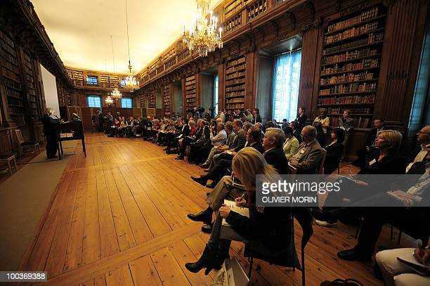 Journalists attend a briefing regarding the Royal wedding of the Swedish crown princess Victoria and her fiance Daniel Westling at the Bernadote...