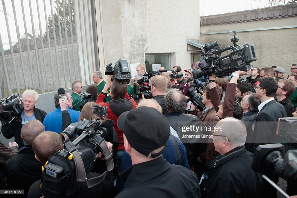 Journalists attend a guided tour at the Landsberg prison, where former FC Bayern Muenchen president Uli Hoeness will serve his sentence on March 31, 2014 in Landsberg, Germany. A judge found Hoeness guilty of evading taxes totaling at least EUR 27.2 million and declared his pre-emptive attempt at turning himself in to German tax authorities as invalid. Hoeness has been a pillar in German football club history, beginning with his career as a stellar professional player with FC Bayern in the 1970s to his role as FC Bayern club chairman, during which the Bundesliga team has been among the most successful in Germany.
