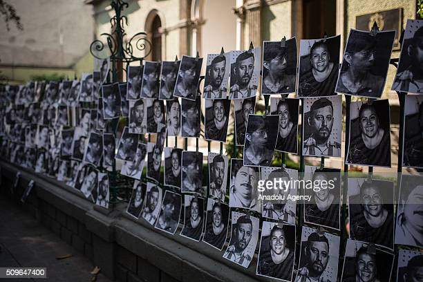 Journalists attend a protest outside the Veracruz state representation office in Mexico Mexico City on February 11 2016 Mexican journalist Anabel...