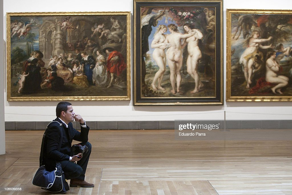 Journalists attend the press for the exhibition 'Rubens' at El Prado Museum on November 4, 2010 in Madrid, Spain.