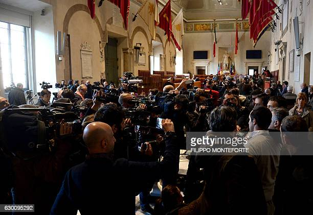 Journalists attend the town council assembly at the Campidoglio in Rome on December 16 2016 during a protest against Rome's mayor Rome's mayor...