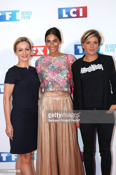 Journalists Audrey CrespoMara Tatiana Silva and Benedicte le Chatelier attend the Groupe TF1 Photocall at Palais de Tokyo on September 09 2019 in...