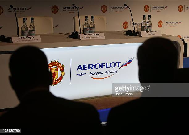 Journalists await the start of the press conference to announce Aeroflot as new Manchester United partners at Old Trafford on July 8 2013 in...
