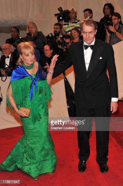 "Journalists Barbara Walters and Charlie Rose attend the ""Alexander McQueen: Savage Beauty"" Costume Institute Gala at The Metropolitan Museum of Art..."