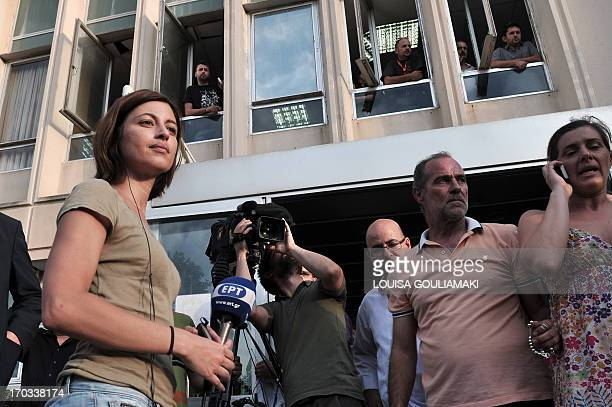 ERT journalists broadcast extraordinary news while thousands of employees and various unions and supporters gather outside the Greece's public...
