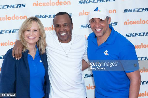 Journalists Carolyn Johnson Former Boxer Sugar Rqy Leonard and NBC's Michael Brownlee attend the Skechers' 9th Annual Pier To Pier Friendship Walk at...