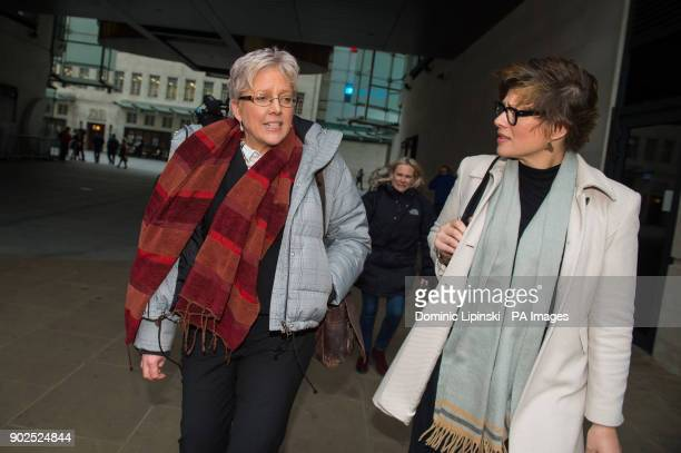 Journalists Carrie Gracie leaves BBC Broadcasting House in London with Kate Silverton after she turned down a pound45000 rise describing the offer as...