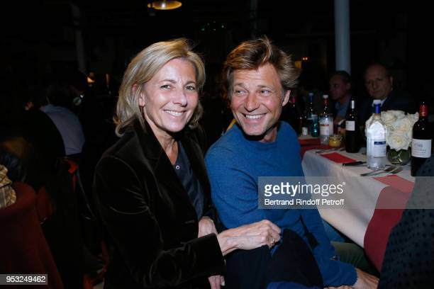 Journalists Claire Chazal and Laurent Delahousse attend the Dinner in honor of Nathalie Baye at La Chope des Puces on April 30 2018 in SaintOuen...