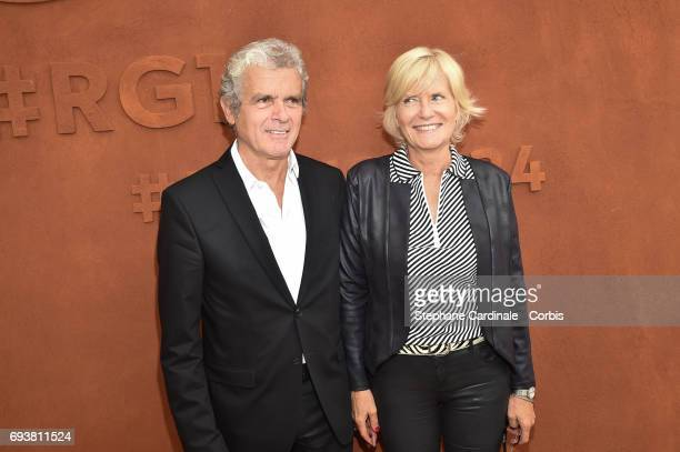 Journalists Claude Serillon and his wife Catherine Ceylac attend the French Tennis Open 2017 Day Twelve at Roland Garros on June 8 2017 in Paris...
