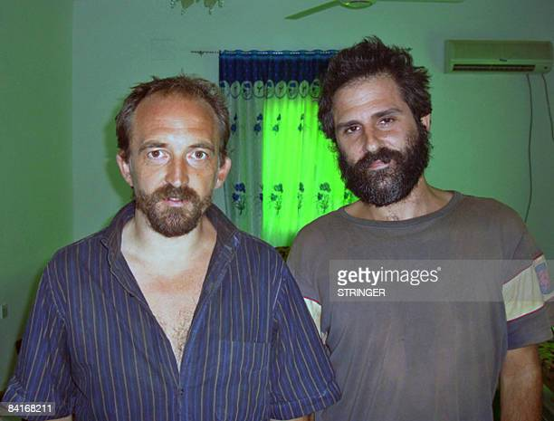 Journalists Colin Freeman [L] and Jose Cendon [R] British and Spanish respectively are pictured January 4 2008 following their release at Somalia's...