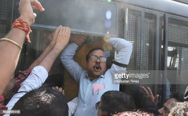 Journalists court arrest during a rally by print and TV journalists against The Criminal Laws Ordinance on October 24 2017 in Jaipur India It seeks...
