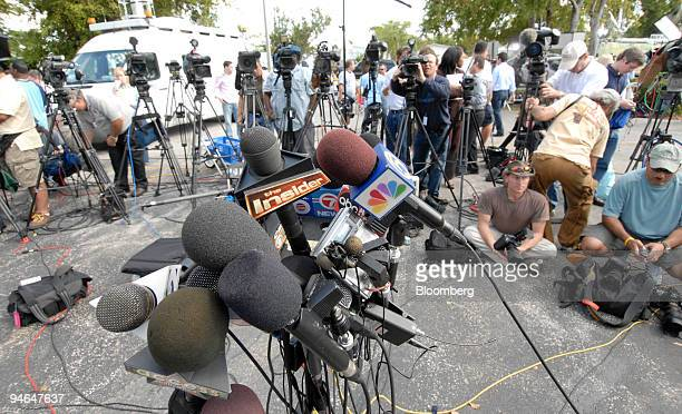 Journalists covering the death of actress Anna Nicole Smith gather outside the Broward County Medical Examiner's Office in Dania Beach Florid Friday...