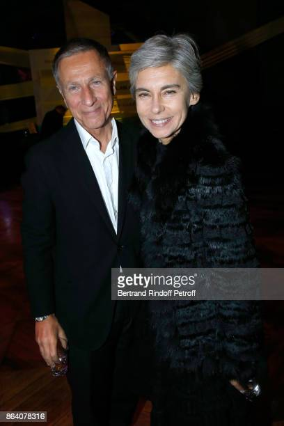 Journalists Francois Armanet and Elisabeth Quin attend the 'Bal Jaune Elastique 2017' Dinner Party at Palais Brongniart during FIAC on October 20...