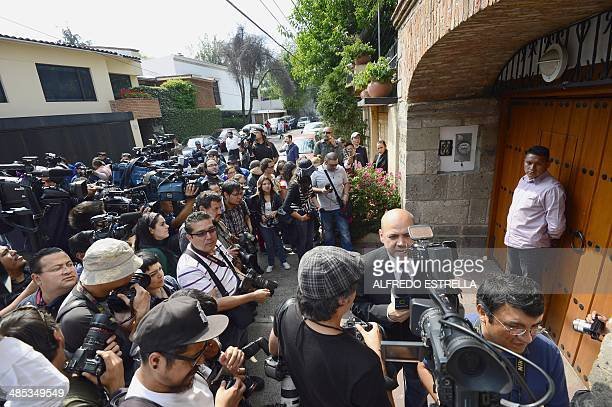 Journalists gather in front of the Colombian 1982 Literature Nobel Prize laureate Gabriel Garcia Marquez's home in Mexico City on April 17 2014...