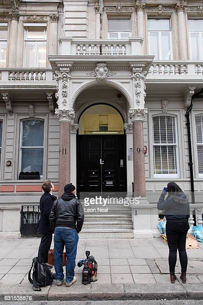 Journalists gather outside the headquarters of Orbis Business Intelligence the company run by former intelligence officer Christopher Steele on...