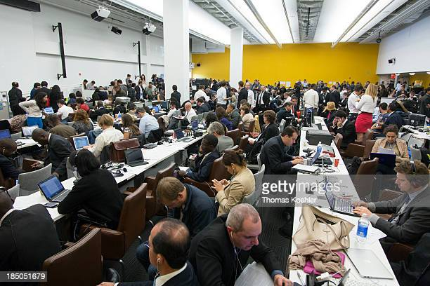 Journalists gathered in the Press Center at the 68th Annual General Meeting of the United Nations pictured on September 24 2013 in New York USA