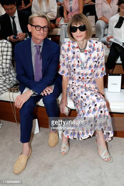 Journalists Hamish Bowles and Anna Wintour attend the Chanel Haute Couture Fall/Winter 2019 2020 show as part of Paris Fashion Week on July 02, 2019...
