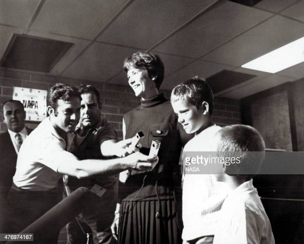 Journalists interview US Astronaut Neil Armstrong's wife Janet and sons Eric and Mark at Kennedy Space Center the day of the Apollo 11 mission...