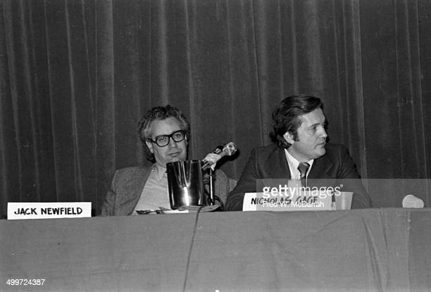 Journalists Jack Newfield and Nicholas Gage sit in on panel discussion at the AJ Liebling CounterConvention New York New York November 20 1976 The...