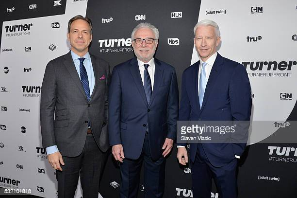 Journalists Jake Tapper Wolf Blitzer and Anderson Cooper attend the Turner Upfront 2016 at Nick Stef's Steakhouse on May 18 2016 in New York City