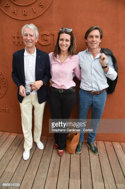 Journalists JeanClaude Narcy AnneClaire Coudray and her companion Nicolas Vix attend the French Tennis Open 2017 Day Twelve at Roland Garros on June...