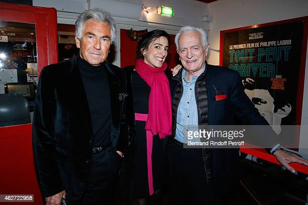 Journalists JeanPaul Enthoven Anna Cabana and Journalist and Director Philippe labro attend the Private Screening of the Movie 'Tout Peut Arriver' at...