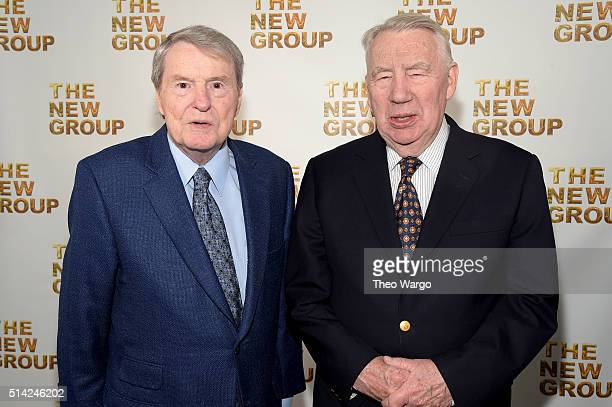 Journalists Jim Lehrer and Robert MacNeil attend the 2016 New Group Gala at the Tribeca Rooftop on March 7 2016 in New York City