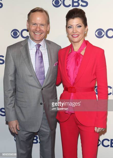 Journalists John Dickerson and Norah O'Donnell attend the 2018 CBS Upfront at The Plaza Hotel on May 16 2018 in New York City