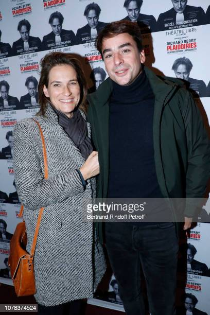 Journalists Julian Bugier and Claire Fournier attend the Plaidoiries Theater Play at Le Comedia Theatre Libre on December 06 2018 in Paris France