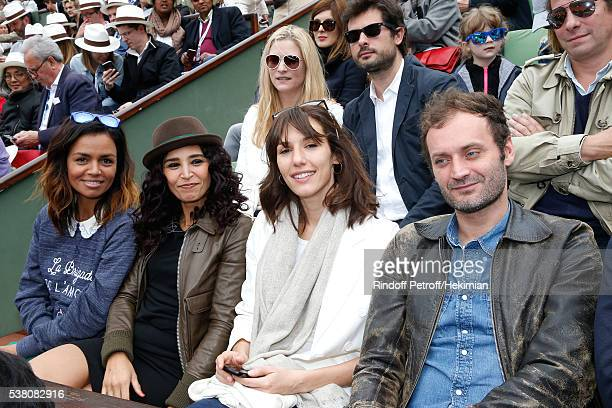 Journalists Laurence Roustandjee Aida Touihri actress Doria Tillier and journalist Augustin Trapenard attend Day Fourteen Women single's Final of the...