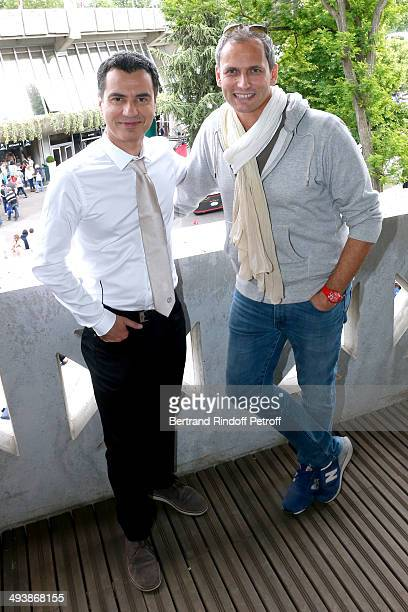 Journalists Laurent Luyat and Louis Laforge at the French Open 2014 Day 1 at Roland Garros on May 25 2014 in Paris France