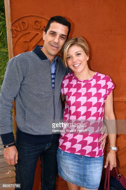 Journalists Laurent Prud'Homme and his wife Benedicte Le Chatellier attend the 2017 French Tennis Open Day Height at Roland Garros on June 4 2017 in...