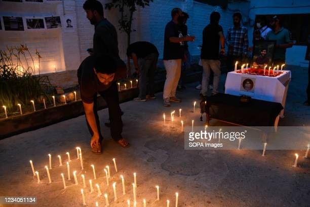 Journalists light candles during a candle light vigil in remembrance of Danish Siddiqui in Srinagar. Reuters journalist Danish Siddiqui was killed on...