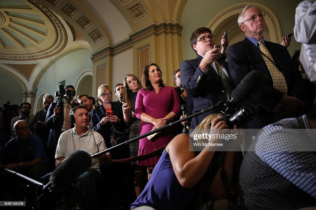 Journalists listen as Senate Majority Leader Mitch McConnell (R-KY) answers questions with members of the Senate Republican leadership at the U.S. Capitol on September 12, 2017 in Washington, DC. McConnell answered a range of questions relating to the upcoming Senate agenda during the press conference.