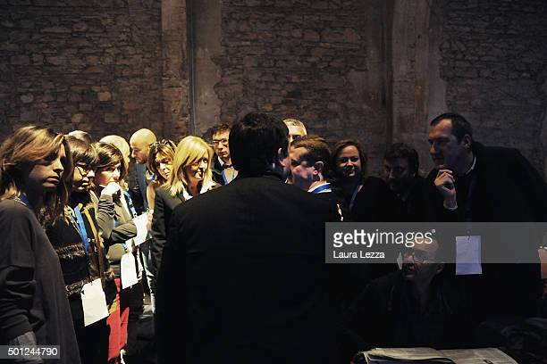 Journalists listen to the spokesman and head of the press office of the Italian Prime Minister Filippo Sensi during the meeting of the Leopolda 2015...