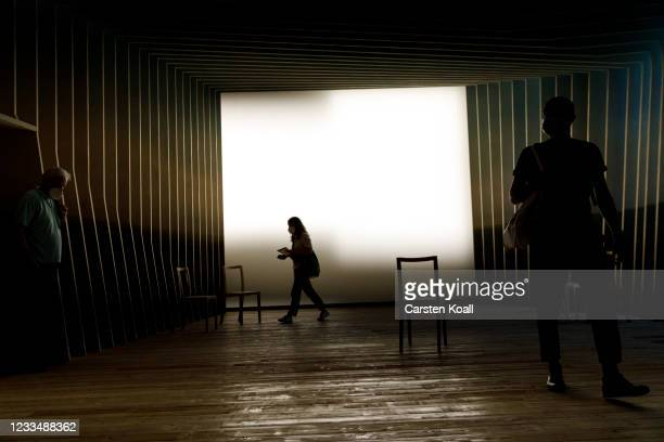 Journalists look in the Room of Silence in the new Documentation Center for Displacement, Expulsion and Reconciliation on June 16, 2021 in Berlin,...