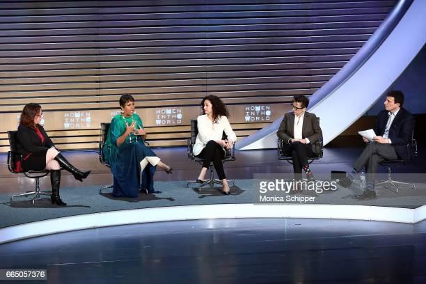 Journalists Maggie Lindsy Haberman Barkha Dutt Ece Temelkuran Masha Gessen and David Remnick speak on stage at the 8th Annual Women In The World...