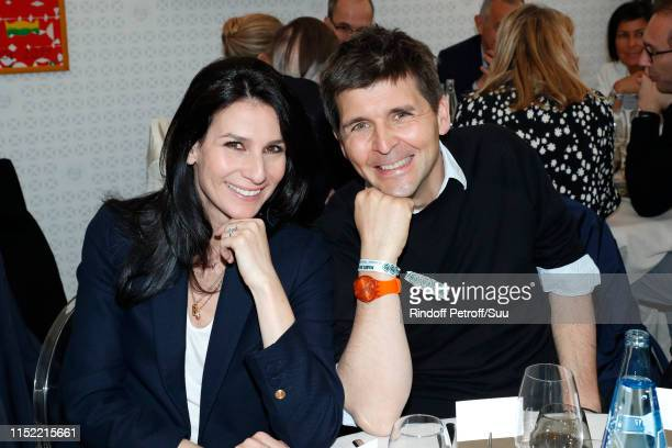 Journalists Marie Drucker and Thomas Sotto attend the 'France Television' Lunch during the 2019 French Tennis Open - Day Three at Roland Garros on...