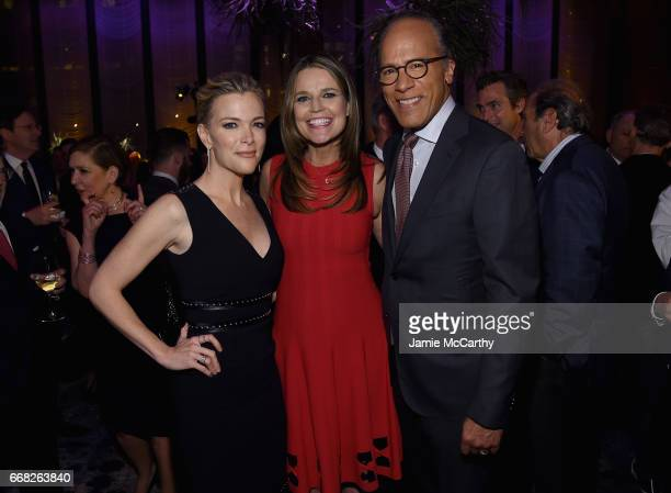 Journalists Megyn Kelly Savannah Guthrie and Lester Holt attends The Hollywood Reporter 35 Most Powerful People In Media 2017 at The Pool on April 13...