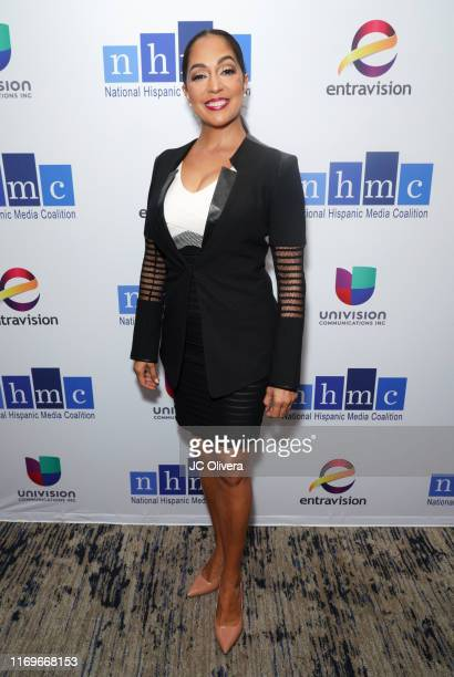 Journalists Michelle Valles attends the NHMC's 17th Annual Los Angeles Impact Awards luncheon at Hilton Universal City on August 22 2019 in Universal...