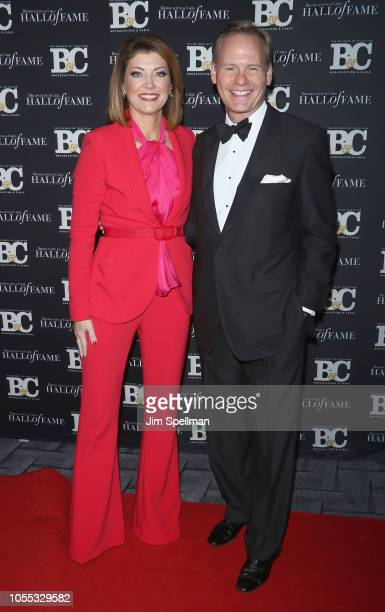 Journalists Norah O'Donnell and John Dickerson attend the 28th Annual Broadcasting and Cable Hall of Fame Awards at The Ziegfeld Ballroom on October...