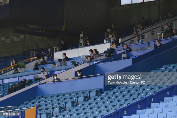 Journalists observing social distance during the Premier League match Everton and Leicester City at Goodison Park on July 1 2020 in Liverpool,...