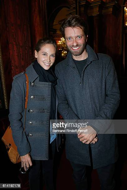 Journalists Ophelie Meunier and Antoine Genton attend the A Droite A Gauche Theater Play at Theatre des Varietes on October 12 2016 in Paris France
