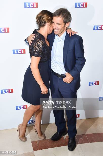 Journalists Pascale de La Tour du Pin and David Pujadas attend the LCI Press Conference to Announce their TV Schedule for 2017/2018 on August 30 2017...