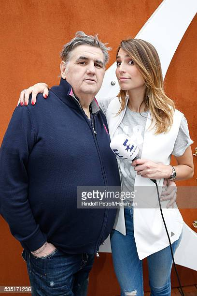 Journalists Pierre Menes and Laury Thilleman attend Day Seven of the 2016 French Tennis Open at Roland Garros on May 28 2016 in Paris France