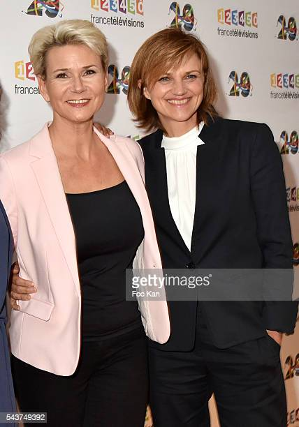 TV journalists /presenters Nathalie Rihouet and Valerie Maurice attend France Television presents its programs 20162017 at France Television studios...
