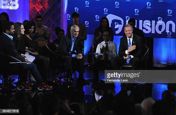 Journalists Rembert Browne Alicia Menendez Akilah Hughes and Jorge Ramos with democratic presidential candidate Martin O'Malley pictured onstage...