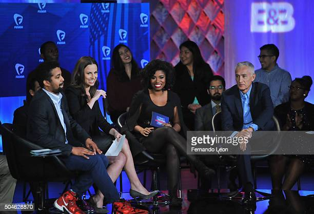 Journalists Rembert Browne Alicia Menendez Akilah Hughes and Jorge Ramos pictured onstage during the FUSION presents the Brown Black Democratic Forum...